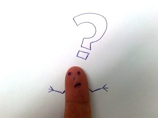 Finger face with a question